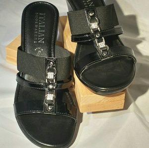 Italian Shoesmakers Black Wedge Bling Front Design